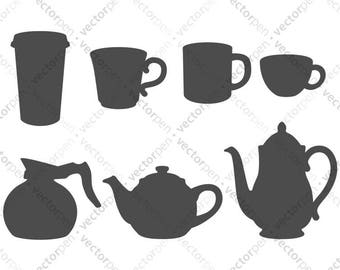 Coffee Cups and Pots and Tea Kettle SVG. Clip Art for Scrapbooking, Cricut, Silhouette and Vinly Projects. Digital Download