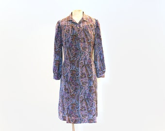 Vintage 70s Purple Paisley Dress - Medium