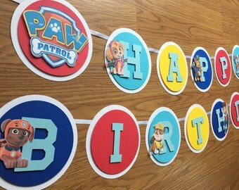 Paw Patrol Birthday Banner, Colorful Dog Banner, Happy Birthday