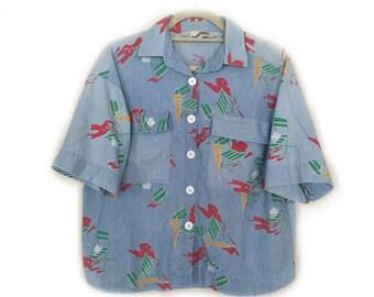 Diane Von Furstenberg - Denim Abstract Pattern Top / Shirt - Size L - 1980s Vintage