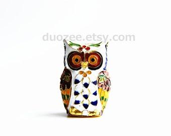 Enamel Brass Owl Figurine White, Enamel Copper Owl, Miniature Owls, Owl Figurines, Owl Figures, Owl Statue, Owl Decor
