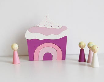 """Wooden puzzle - """"Cupcake Purple OR Blue"""""""