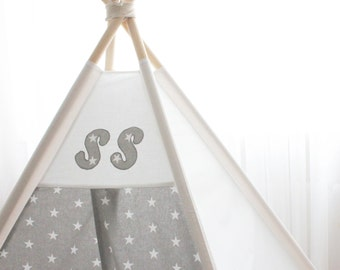 PERSONALIZED teepee gray stars - Kids teepee gray stars - Teepee - Playtent - Kids gift - Boys gift - Boys teepee - Playhouse