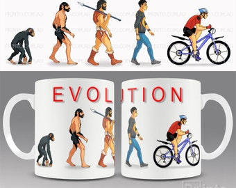 Funny novelty coffee mug EVOLUTION of CYCLING, cyclist, bicycle, gift for him or her