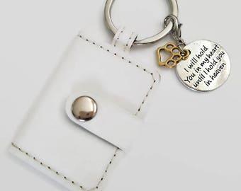 Pet memorial photograph key chain. Sympathy gift for friend who has lost a pet. PU key ring. Pet Loss gift. Rainbow bridge item.