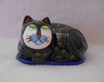Rare, Hand Painted by MILSON & LOUIS Cat Trinket Box, Sleeping Black Cat with Gold Accents, Excellent Condition