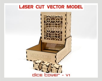 Dice Tower, wood Dice Tower, Dice Tower project, Dice Tower laser cut model, Dice Tower vector model, plywood Dice Tower, 1