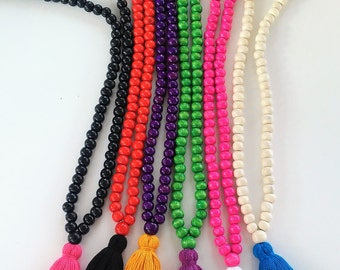 Color Mala Necklace - 108 + 1 wooden beads Mala Necklace- Meditation Necklace - Collar para meditación - Beaded Necklace - tassel necklace -