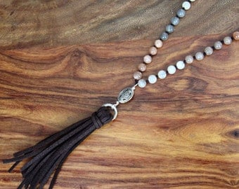 Moonstone necklace Tassel necklace Peach Moonstone Leather Long Gemstone necklace Hand Knotted necklace gift women gift for her gift for mom