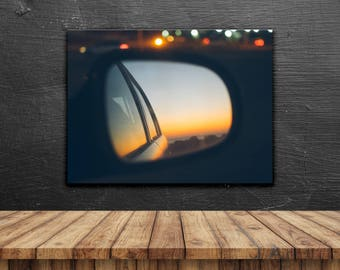 Road Trip // Poster, Photography, Wanderlust, Highway, Trip, Pastel, Sunset, Print, Wall Decor, Home Decor, Unique, Skyline, Blurry, Palm
