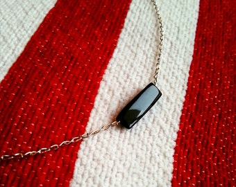 Sterling silver necklace / pendant in genuine ebony