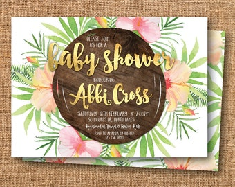 Tropical baby shower invitation, floral baby shower invitation, Hawaiian, beach, tropical invitation, peach and gold, green, wood (Abbi)