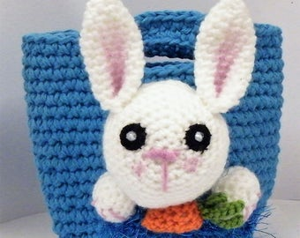 Hand Crochet Eater basket with rabbit on front, with easter egg inside
