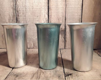 Vintage Zephyr Ware Aluminum Tumblers, Lot,of 3, Made In Louisville, Ky 1950s