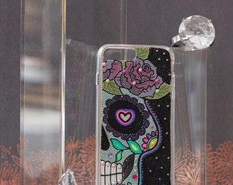Floral Sugar Skull iPhone 7 PLUS Case - Apple case iPhone 7 Plus half face Day of the Dead Art - handmade