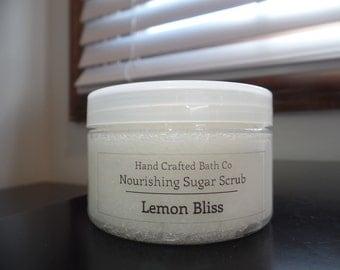 Sugar Scrub, All Natural Exfoliant, Nourishing, Moisturizing, Lemon Essential Oil, Great for winter!
