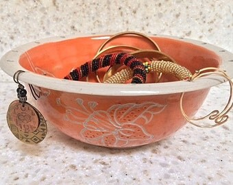 Handmade ceramic jewelry bowl, hand carved floral earring & jewelry holder, pottery jewelry organizer in joyful orange