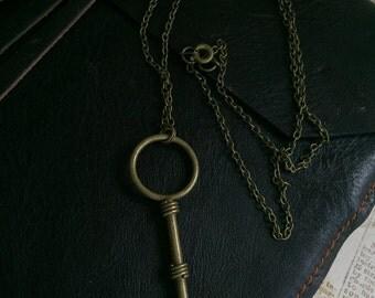 Boho Key Necklace, Vintage Key Long Necklace, Key to my Heart Necklace, Vintage Skeleton Key Necklace, Antique Key Necklace, Charm Necklace