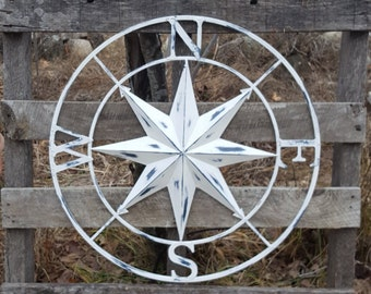 Distressed White Compass Rose/ Large Metal Wall Art / Nautical Wall Compass / Nautical Wall Art / Nautical Wall Decor / Compass Rose Wall