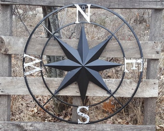 Nautical Wall Compass - Compass Rose - Metal Nautical Compass - Black Wall Art- Metal Compass Rose - Nautical wall decor- Black Wall Compass