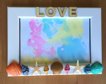 LOVE & Seashells Picture frame...Natural Seashells, Love, Picture Frame, Beach, Sky