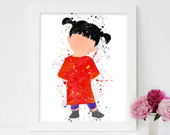 Boo Monster's Inc, Boo Disney Print, Boo Print, Watercolor Printable, Disney, Nursery Disney ,Kids Room Decor, Instant Download Art