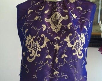 Victorian 1800s Dress Panel Indigo Watered Silk French Embroidery Ex Museum