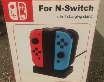 NEW in Box Blue 4-in-1 Station Dock Charger Nintendo Switch Controller Joy-con Charging Stand