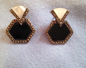 Sterling Silver Marcasite, Onyx and Mother of Pearl Earrings