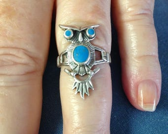 Sterling Turquoise Owl Ring