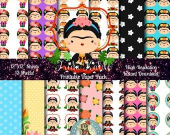 Frida Kahlo Digital Paper, Frida Kahlo Print, Frida Kahlo Art, Scrapbook Paper, Digital Scrapbooking, Scrapbook Pages, Instant Download