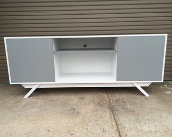 NEW Hand Built Mid Century Inspired TV Stand.  Custom two tone style, 2 door with center shelf with angled leg base.  Buffet / Credenza