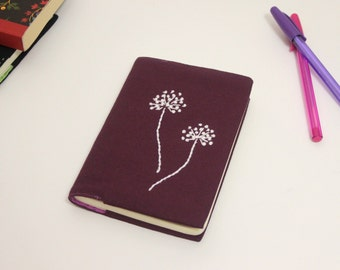 Fabric journal cover, hand embroidered dandelion flowers purple notebook cover, a6 notebook, gift for women