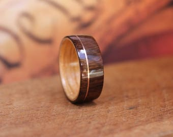 Wooden Ring East Indian Rosewood offset copper - Men's Wooden Ring Wood Anniversary Gifts for Men Engagement Ring for Men Bentwood Ring