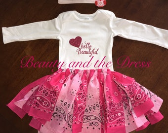 Hello beautiful bandana tutu set, hello beautiful, hello beautiful tutu, pink tutu set, bandana tutu, bandana skirt, hello beautiful onesie
