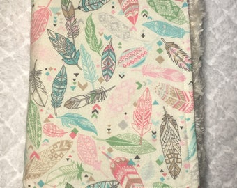 Pastel Feathers ~ Faux Fur Minky ~ Baby Blanket ~ Toddler Blanket