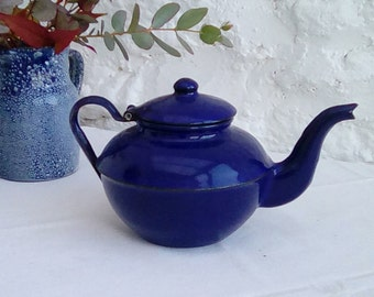 Vintage French enamel teapot, a lovely dark blue.
