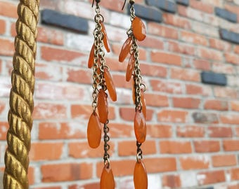 Long Gold tangerine lucite droplet chain earrings