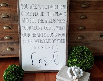 """Holy Spirit You Are Welcome Here Framed Sign 16""""x32""""