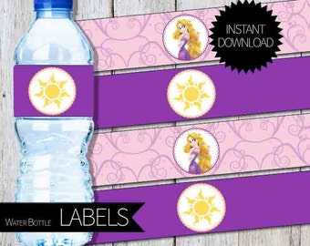 Rapunzel Tangled Birthday Party PRINTABLE Water Bottle Labels- Instant Download | Princess Rapunzel | Disney Tangled