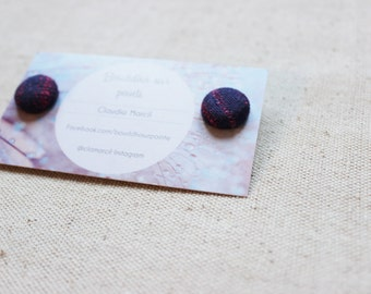 Flat 15 mm button earrings made of scraps of portage scarves (default reduction)