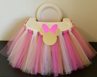 Pink and Gold Highchair Tutu Skirt