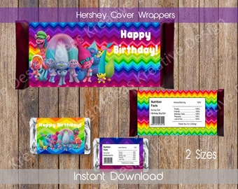 Trolls Hershey Wrappers Trolls Hershey Chocolate Wrapper Trolls Chocolate Wrappers Trolls Hershey Party Favors INSTANT DOWNLOAD
