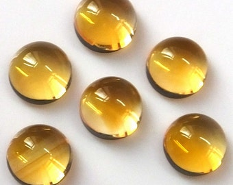 10pcs Lot 7mm CITRINE Round Cabochon gemstone, Calibrated Size Gemstone