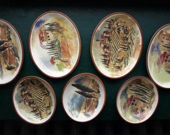 Set of 7 Italian Print Serving / Appetizer Plates