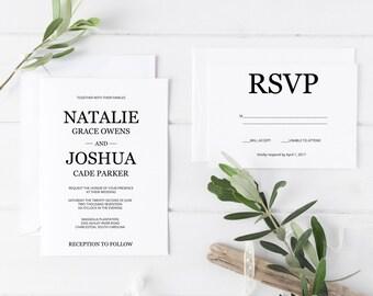 Wedding Invitation Template, Printable Wedding Invitations, Printable Wedding Invitation Suite, DIY Wedding Invitations, Formal Invitations