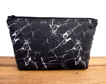 Marble Makeup Bag Large - Make Up Bag - Marble Accessories - Marble Makeup Brush Holder - Marble Cosmetic Bag - Black Makeup Bag  #64