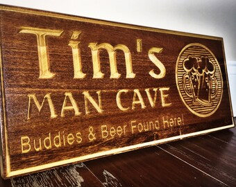 Personalized Wood Carved sign/ Man Cave/ custom sign/Father's Day/Anniversary/Christmas gift/Woman Cave/Birthday