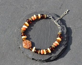 Handmade Autumn Coloured Beaded Bracelet