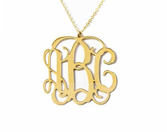 Free Shipping - Monogram necklace, LARGE, Personalized Gift, Monogrammed Initial, Sterling Silver, silver necklace, Silver Monogram necklace